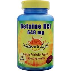 Nature's Life Betaine HCl (648mg) 100 caps