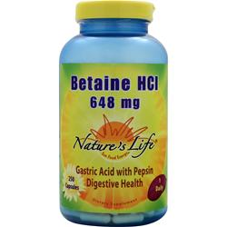NATURE'S LIFE Betaine HCl (648mg) 250 caps