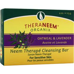 THERANEEM ORGANIX Neem Therape Cleansing Bar Oatmeal and Lavender 4 oz