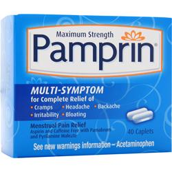 CHATTEM Pamprin Multi Symptom - Maximum Strength Best by 10/15 40 cplts