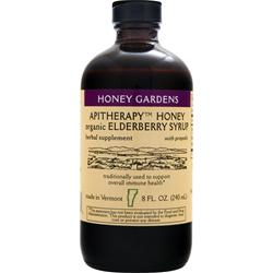 HONEY GARDENS Apitherapy Honey - Organic Elderberry Syrup 8 fl.oz