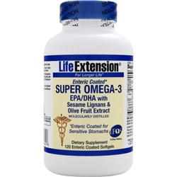 LIFE EXTENSION Super Omega-3 EPA/DHA with Sesame Lignans & Olive Fruit Extract Enteric Coated 120 sgels