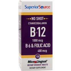 SUPERIOR SOURCE MicroLingual No Shot Cyanocobalamin B12 + B6 & Folic Acid 100 tabs