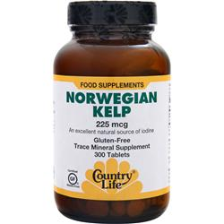 COUNTRY LIFE Norwegian Kelp (225mcg) 300 tabs
