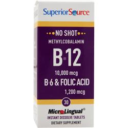 SUPERIOR SOURCE No Shot Methylcobalamin B-12 (10,000mcg) + B-6 & Folic Acid (1,200mcg) 30 tabs