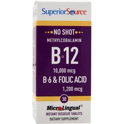 Superior Source No Shot Methylcobalamin B-12 (10,000mcg) + B-6 & Folic Acid (1,200mcg) 30 tabs