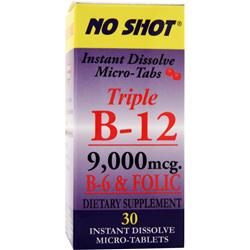 SUPERIOR SOURCE Triple B-12 (9,000mcg) + B-6 & Folic 30 tabs