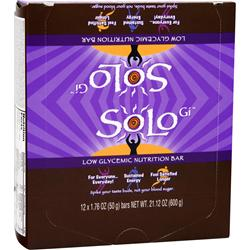SOLO GI Low Glycemic Nutrition Bar Chocolate Charger 12 bars