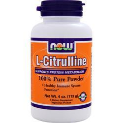 NOW L-Citrulline (100% Pure Powder) 100% Pure Powder 4 oz