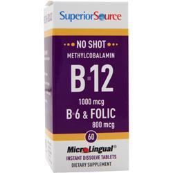 SUPERIOR SOURCE No Shot Methylcobalamin B12 (1000mcg) + B6 & Folic Acid (800mcg) 60 tabs