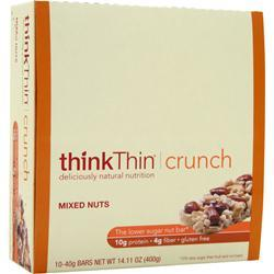 THINK THIN Think Thin Crunch Bar - Lower Carb Nut Bar Mixed Nuts 10 bars
