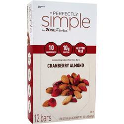 ZONE PERFECT Perfectly Simple Bar Cranberry Almond 12 bars