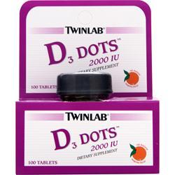 TwinLab D3 Dots (2000IU) Tangerine 100 tabs