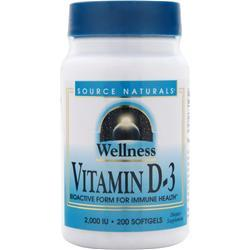 SOURCE NATURALS Wellness Vitamin D-3 (2,000IU) 200 sgels