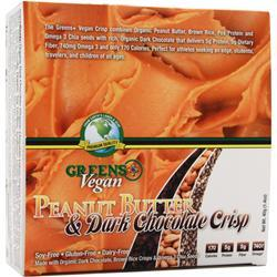 GREENS PLUS Vegan Crisp Bar Peanut Butter & Dark Choc 12 bars