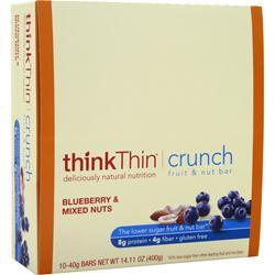 THINK THIN Think Thin Crunch Bar - Lower Carb Nut Bar Blueberry & Mixed Nuts 10 bars