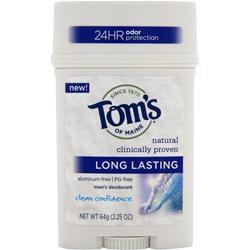 TOM'S OF MAINE Men's Deodorant Stick - Long Lasting Clean Confidence 2.25 oz