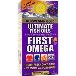 Renew Life Norwegian Gold Ultimate Fish Oils First Omega Natural Orange Flavor 60 sgels