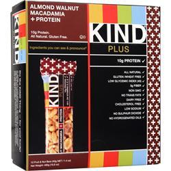 PEACEWORKS KIND Plus Protein Bar Almond Walnut & Macadamia 12 bars