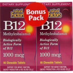 NATURAL FACTORS B12 Methylcobalamin (1000mcg) Bonus Pack 180 chews