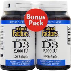 NATURAL FACTORS Vitamin D3 (2000IU) Bonus Pack 240 sgels