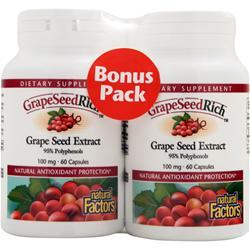 NATURAL FACTORS GrapeSeedRich - Grape Seed Extract (100mg) Bonus Pack 120 caps