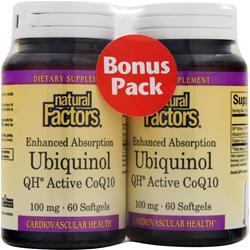 Natural Factors Ubiquinol QH Active CoQ10 Bonus Pack 120 sgels