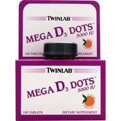 TWINLAB Mega D3 Dots (5000IU) Tangerine 100 tabs