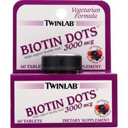 TWINLAB Biotin Dots (3000mcg) Mixed Berry 60 tabs