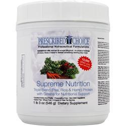 PRESCRIBED CHOICE Supreme Nutrition - Triple Blend Protein with Greens for Nutritional Support 546 grams