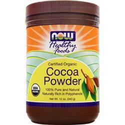 NOW Cocoa Powder Certified Organic 12 oz