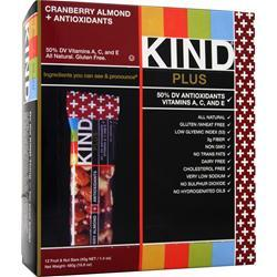 PEACEWORKS KIND Plus Antioxidants Bar Cranberry and Almond 12 bars
