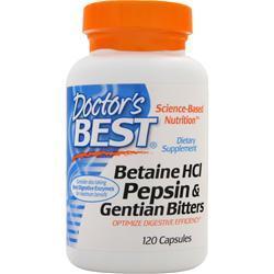 Doctor's Best Betaine HCI Pepsin & Gentian Bitters 120 caps