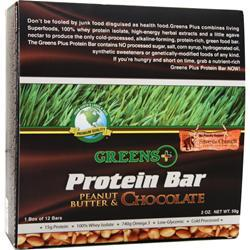 GREENS PLUS High Protein Food Bar Peanut Butter & Chocolate 12 bars