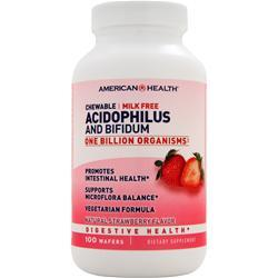 American Health Chewable Acidophilus and Bifidum Natural Strawberry 100 wafrs
