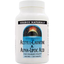 SOURCE NATURALS Acetyl L-Carnitine & Alpha-Lipoic Acid (650mg) 120 tabs