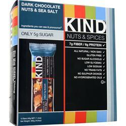 PEACEWORKS KIND Nuts and Spices Bar Dark Choc, Nuts, Sea Salt 12 bars