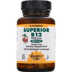 COUNTRY LIFE Superior B-12 (3000mcg) Berry 120 lzngs