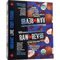 RAW INDULGENCE Raw Rev 100 Bar Chocolate Coconut Bliss 20 bars