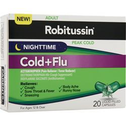 ROBITUSSIN Peak Cold - Nighttime Cold + Flu 20 lcaps