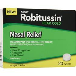Robitussin Peak Cold - Nasal Relief 20 tabs