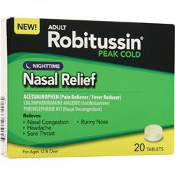 ROBITUSSIN Peak Cold - Nighttime Nasal Relief 20 tabs