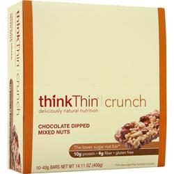 THINK THIN Think Thin Crunch Bar - Lower Carb Nut Bar Choc. Dipped Mixed Nuts 10 bars
