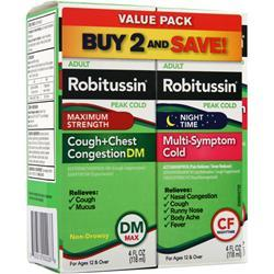 Robitussin Peak Cold - Maximum Strength Cough + Chest Congestion DM and NightTime Multi-Symptom Cold Value Pack 8 fl.oz