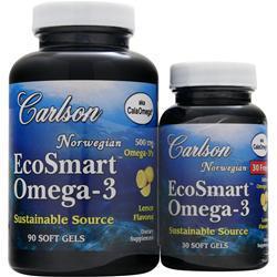 CARLSON EcoSmart Omega-3 Lemon 90+30 Shrink Wrap 120 sgels