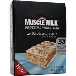CYTOSPORT Muscle Milk Protein Crunch Bar Vanilla Almond Yogurt 12 bars