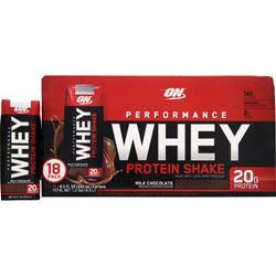 Optimum Nutrition Performance Whey Protein Shake RTD Milk Chocolate 18 bttls