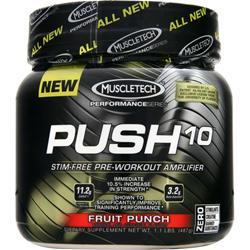 MUSCLETECH Push 10 - Stim Free Pre Workout Amplifier Fruit Punch Exp 3/11/15 487 grams