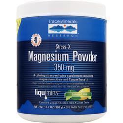 Trace Minerals Research Stress-X Magnesium Powder (350mg) Lemon Lime 12.7 oz
