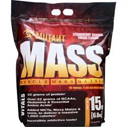 FIT FOODS Mutant Mass - Muscle Mass Gainer Strawberry Banana 15 lbs